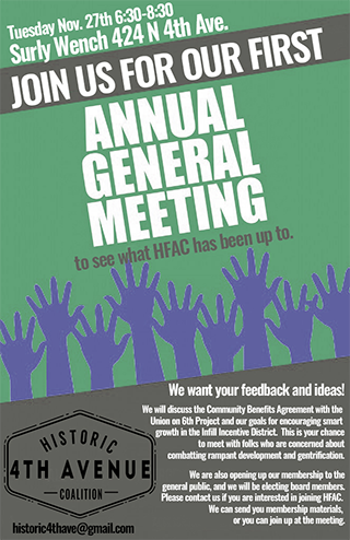 Historic Fourth Avenue Coalition 1st Annual General Meeting - Nov 27, 2018
