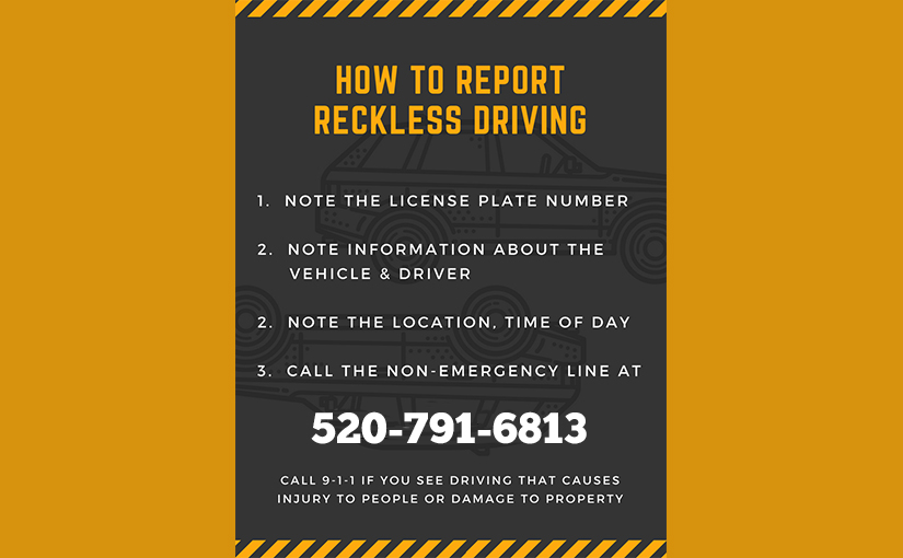 How to report reckless driving in West University neighborhood, Tucson, AZ